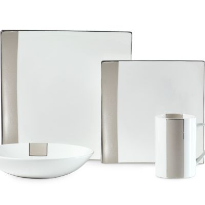 For the Home: Platinum Banded Sale: Beige Mikasa Shimmer Square 4-Piece Place Setting