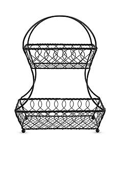 Mikasa Gourmet Basics Lattice 2-Tier Fruit Basket
