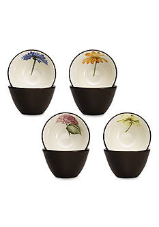 Noritake Colorwave Chocolate Set of 4 Floral Bowls