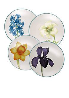 Noritake Colorwave Turquoise 4-Piece Floral Plate Set