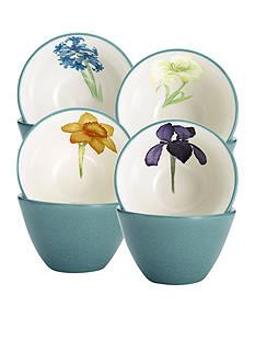 Noritake Colorwave Turquoise 4-Piece Floral Bowl Set