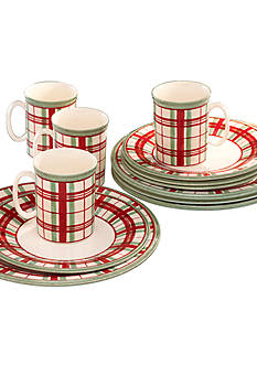Lenox Holiday Gatherings 12-Piece Plaid Dinnerware Set