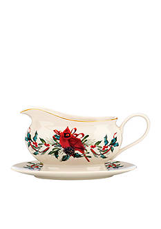 Lenox Winter Greetings Cardinal Gravy Boat and Stand