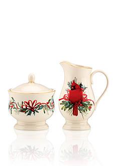 Lenox Winter Greetings Cardinal Sugar & Creamer Set
