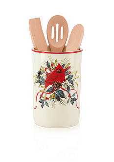 Lenox Holiday Utensil Crock with 3 Wooden Servers