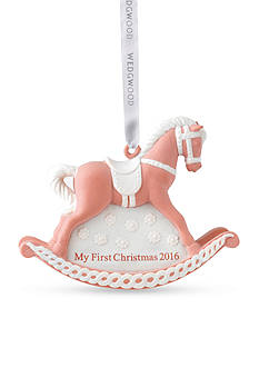 Wedgwood 2016 Baby's First Christmas Pink Rocking Horse Ornament