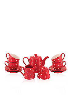 Maxwell & Williams 13-Piece Red Sprinkle Tea Set