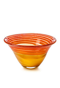 Waterford Evolution Red & Amber Swirl Bowl