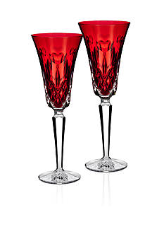 Waterford I Love Lismore Red Flute Pair