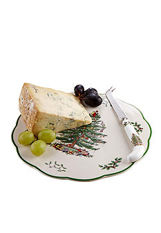 Spode Christmas Tree Appetizer Plate with Knife