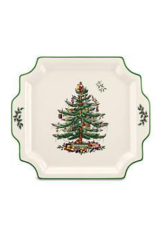 Spode Christmas Tree Square Handled Platter