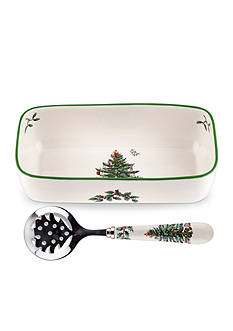 Spode Christmas Tree Cranberry Server with Slotted Spoon