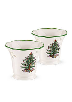 Spode Christmas Tree Pierced Tealight Holders & Tealights