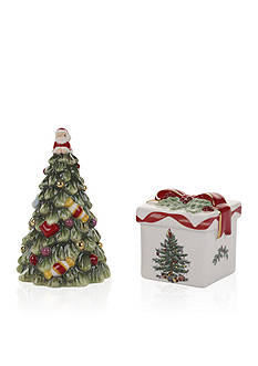 Spode Christmas Tree Gold Ribbons Tree & Gift Box Salt & Pepper Set