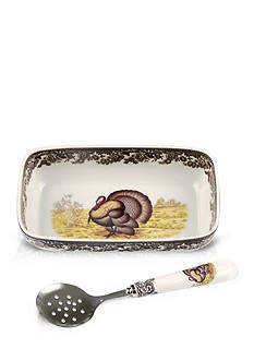 Spode Woodland Turkey Cranberry Dish with Slotted Spoon