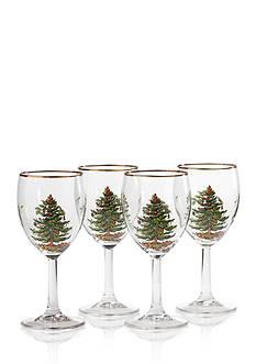 Spode Christmas Tree Set of 4 Wine Glasses 13-oz.