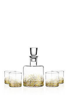 Fitz and Floyd Gold Luster Decanter and 4 Glass Set