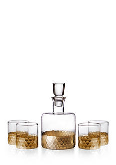 Fitz and Floyd Daphne Gold Decanter and 4 Glass Set