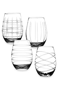 Crystal Clear Medallion Set of 4 Stemless Goblets