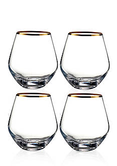 Crystal Clear Michel Gold Rim Stemless Wine Glasses, Set of 4
