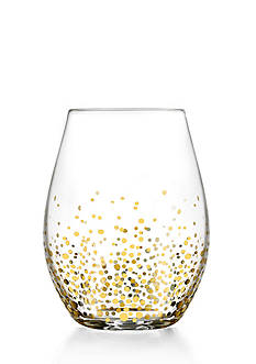 Crystal Clear Gold Luster Stemless Wine Glass, Set of 4