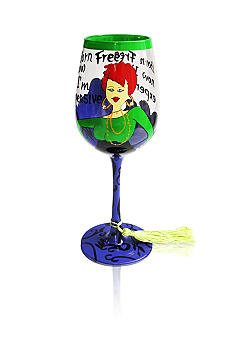 Crystal Clear Born Free Hand Painted Wine Glass