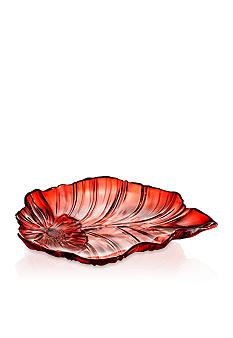 Crystal Clear Venezia Red Leaf Platter