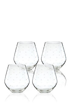 Kate Spade Larabee Dot Set of 4 Stemless Red Wine Glasses