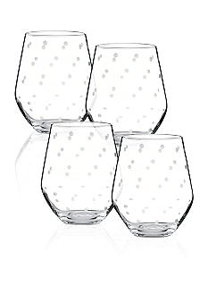 Kate Spade Larabee Dot Set of 4 Stemless White Wine Glasses