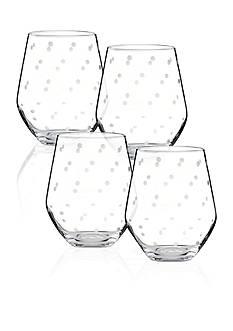 kate spade new york Larabee Dot Set of 4 Stemless White Wine Glasses