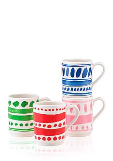 kate spade new york all in good taste Set of 4 Illustrated Stacking Mugs