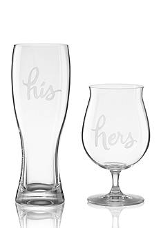 kate spade new york Two of a Kind His and Hers 2-Piece Beer Glass Set