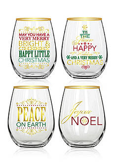Gold-Rimmed Stemless Glasses, Set of 4