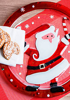 Home Essentials & Beyond Round Glass Santa Plate