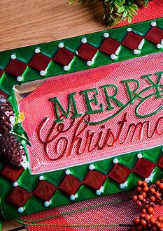 Home Essentials & Beyond Rectangular Glass Merry Christmas Plate