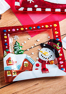 Home Essentials & Beyond Square Glass Snowman Plate
