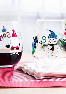 Home Essentials & Beyond Santa & Snowman Glass Set
