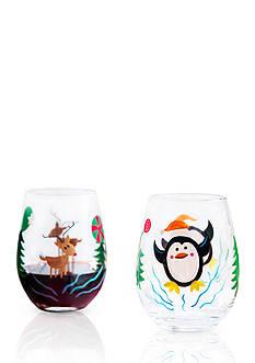 Reindeer & Penguin Wine Glass, Set of 2