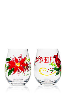 Home Essentials & Beyond Cardinal and Poinsettia Stemless Wine Glass, Set of 2