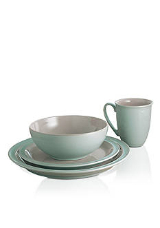 Denby Duet Taupe & Blue 4-Piece Place Setting