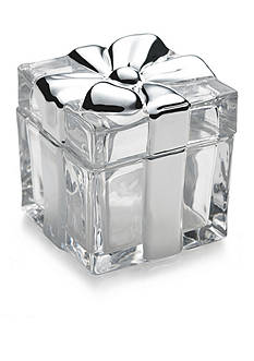 Mikasa Holiday Treats Glass and Platinum Covered Box