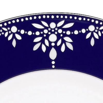 Platinum Dinnerware: White Marchesa by Lenox BEADEDINDIGO TEA CUP
