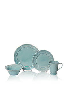 Baum Brothers Adorn Turquoise 16-Piece Dinnerware Set