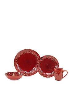 Baum Brothers Andaluz 16-Piece Dinnerware Collection - Red