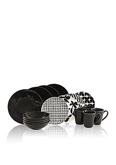 Baum Brothers Black & White 16-Piece Dinnerware Set