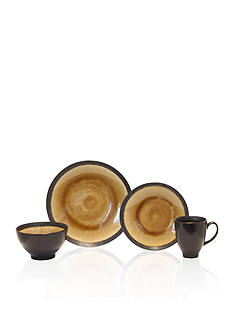 Baum Brothers Galaxy Coupe 16-Piece Dinnerware Collection - Amber