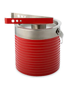 Fiesta Scarlet Ribbed Double Walled Ice Bucket and Tongs