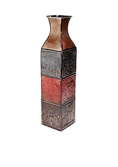 Elements 24-in. 4 Color Tile Embossed Iron Vase