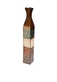 Elements 34-in. Embossed Metal Suzani Tile Vase
