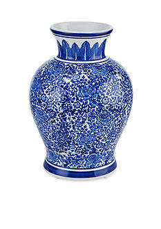 Bombay™ 9-in. Round Blue and White Vase